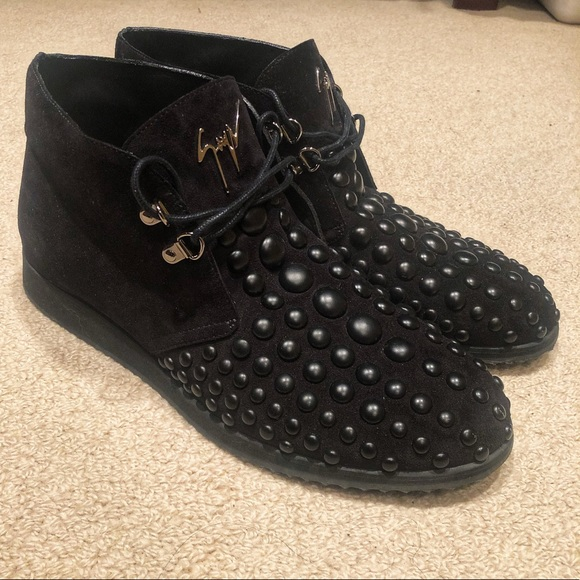 cee368f28 Giuseppe Zanotti Shoes   Black Suede Studded Desert Boots   Poshmark